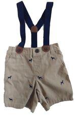 Gymboree Baby Boy's Khaki Brown Dog Detail Shorts / Suspenders NEW tags 12-18mon