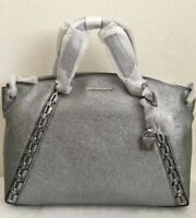 NWT Michael Kors Chelsea Medium Crackle Leather Satchel Bag $428 Light Pewter