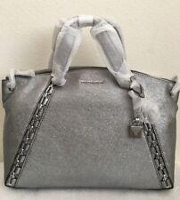 NWT Michael Kors Chelsea Medium Crackle Leather Satchel Bag $428 Light Pewter