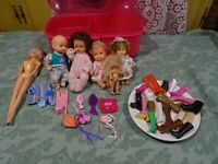 grand  lot la valise de barbie===,5mini/poupées  et ses20bottes  dépareillées