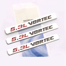 3x OEM 5.3L VORTEC HOOD Emblems Engine Badge Silverado Z71 GMC Sierra Chrome FU