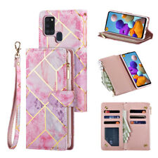 Leather Flip Zip Card Wallet Phone Case Cover for Samsung A21s S8 S9 S10 S20 A51