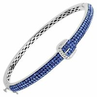 Crystaluxe Buckle Bangle with Blue & White Swarovski Crystals in Sterling Silver