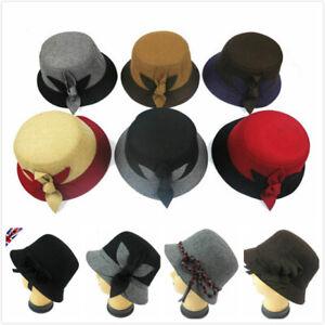 Vintage 1920s Hat Wool Blend Women Ladies Downton Abbey Cloche Bucket Fancy