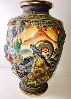 19th-C Relief Carved Japanese Meiji Satsuma Pottery Porcelain Vase Signed 10""