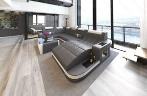 Sofa Wohnlandschaft Leder Couch WAVE U Form Bett Eckcouch Grau Weiß Ottomane USB