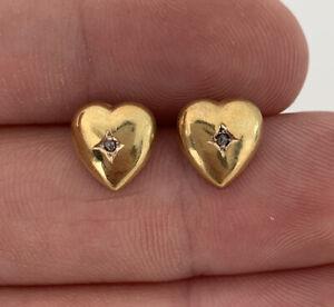 9ct Gold Victorian Diamond Heart Earrings, 9k 375