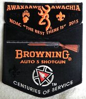 AWAXAAWE AWACHIA 535 TRAPPER TRAILS FLAP OA 100TH 2015 NOAC BROWNING 2-PATCH SET