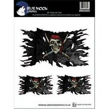 BLUE MOON GRAPHIX Motorcycle Decal Helmet Sticker Jolly Roger Flag PIRATE Silver