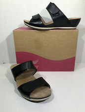 Dansko Vienna Full Grain Women's Size 6.5-7 EU 37 Black Leather Sandals ZC-327