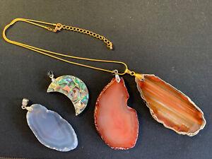 CLEARANCE 4pcs Healing Crystal Quartz Gemstone Pendants necklaces Resell markets