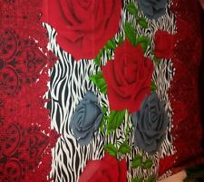 Beautiful red grey floral zebra 100% cotton bed sheet with 2 pillowcases