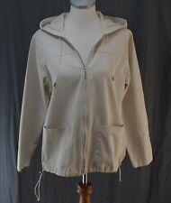 Jennifer Moore, Medium, Beige Denim Hooded Jacket