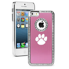 For iPhone 4 4s 5 5s 5c 6 6s Plus Rhinestone Crystal Bling Case Cover Paw Print
