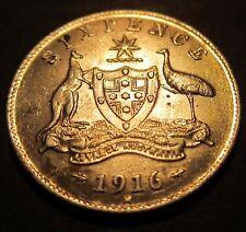 =MAKE AN OFFER= 1916 Australia 6d Sixpence #816-6 =HIGH GRADE CV $500.00=