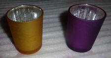 4 Photophores -Décoration Noël - en verre jaune et violet - NEUF