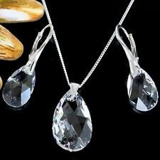 Original Swarovski Cristal De Pera, juego de pendientes y collar de plata esterlina 925