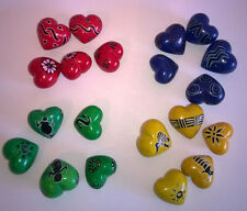 5 x Small Soapstone Hearts Hand Carved and Painted Kenya