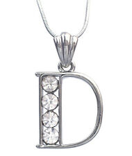 Monogram English Alphabet Initial Letter D Pendant Necklace Clear Crystal n3003D