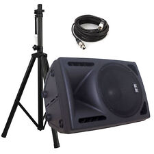 "PAIR of New 15"" AMPLIFIED Powered Pro Audio Speaker/DJ Loudspeakers w/ Stands!"