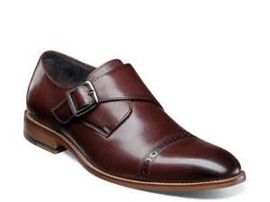 Stacy Adams Desmond Shoes Cap Toe Monk Strap Burgundy 25162-601 SIze 13