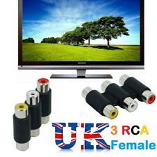 3 RCA AV Audio Video Female to Female  F/F Jack Coupler Adapter 3RCA Connector