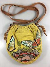 Fossil Butterflies Yellow Canvas Hobo Pouch Cross-Body Shoulder Bag