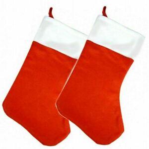 2 x Red Felt Christmas X-MAS Stocking - 40 cm - Santa Party Present Toy Bag