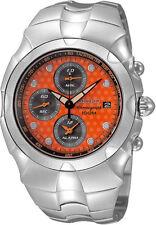 SEIKO Alarm Chronograph SNA761 SNA761P1 Streamline Orange Dots Dial Steel Watch
