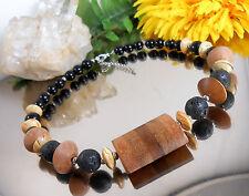 Ausgefallenes Collier Halskette Holzperlen + Lava + Glas Naturfarben + schwarz