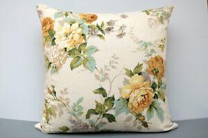 Large Vintage Sanderson Linen Cushion Cover Rosamund Yellow Roses/ Lilac 50x50cm