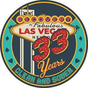 33 Year Las Vegas Themed AA/NA Recovery Medallion - 40mm Fancy Coin/Chip - Blue/