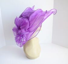 NEW Church Derby Wedding Organza w Jumbo Ascot Dress hat Purple VF1838