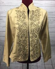 Chicos Silk Sequin Embellished Tan Lightweight Jacket Size 1