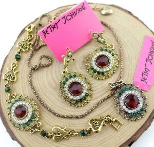 Set Betsy Johnson Jewelry Pendant Rhinestone Round bracelet earring necklace hot