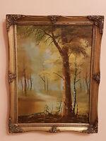 Vintage Oil Painting On Canvas ' Landscape ' Signed