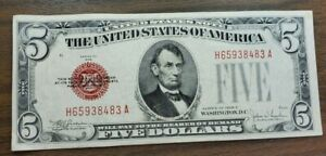 Series 1928 $5 United States Note Red Seal AU-CU