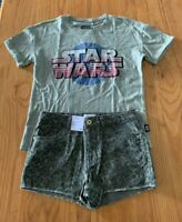 Girls size 12 STAR WARS  print tee & khaki  camo denim shorts Target NEW