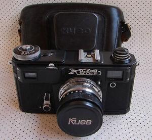 Soviet Contax copy KIEV 4AM BLACK 35mm RF camera w/ Helios-103 1.8/53mm lens EXC