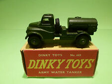 DINKY TOYS 643 TRUCK ARMY WATER TANKER- RARE SELTEN - NEAR MINT CONDITION IN BOX