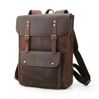 "Men Real Leather 16"" Laptop Backpack Carry On Daypack Travel Outdoor School Bag"