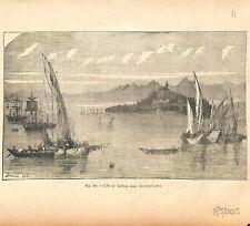 Corfou ou Corcyre Îles Ioniennes Canal maritime de Corinthe Grèce GRAVURE 1884