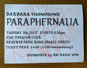 Barbara Thompson & Paraphernalia ft. Jon Hiseman. Used Ticket Stub. Signed.
