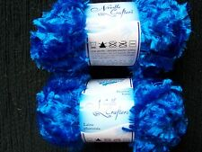 Needle Crafters Feather Boa fashion yarn, Brilliant Blue, lot of 2 (53 yds each)