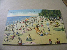 LINEN POSTCARD ON THE BEACH AT PRESQUE ISLE STATE PARK ERIE , PA.