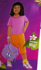 Girls DORA THE EXPLORER Deluxe Costume Purim Outfit Wig Backpack Toddler 3 4 NEW