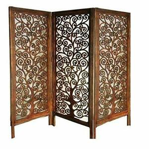 Indian Antique Furniture Handcraft Wooden Partition Screen Room Divider 3 Panels