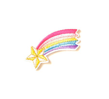 rainbow star iron on patch, decorative applique patch, sewing supplies,