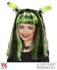 Childrens Long Black Green Wig With Bats Halloween Witch Fancy Dress