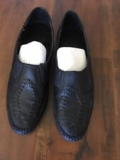 SOFT SPOTS size 9.5 Narrow Black Flats Southwest Style Slip On Loafer, Moccasin